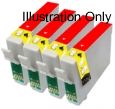 4 x Red Compatible with Epson T0547
