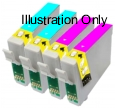 2 x Light Cyan plus 2 x Light Magenta Epson T0485 & T0486 Compatible Ink Cartridges for Epson R320