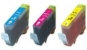 1 Each Cyan, Magenta & Yellow Compatible with Canon CLI-521C/M/Y