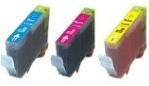 1 Each Cyan, Magenta & Yellow Compatible with Canon CLI-526C/M/Y