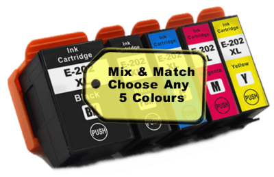 Mix & Match 5 Pack Compatible with Epson 202XL (Kiwi XL)