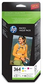 Genuine HP-364 Three Colour Multipack Cyan, Magenta, Yellow Ink Cartridges and 85 sheets of postcard sized photo paper (CH082EE)
