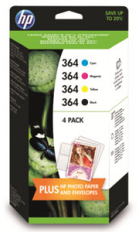 Genuine HP-364 Ink Cartridge Multipack (J3M82AE) with Free Paper and Envelopes ( replaces SD534EE)