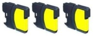 3 x Yellow Compatible with Brother LC1100Y