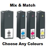Lexmark 100XL High Capacity Compatible Mix & Match 4 Pack for Lexmark Interpret S405