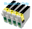 4 x Black Compatible with Epson T0711 & T0891
