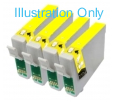 4 x Yellow Epson T0554 Compatible Ink Cartridges for Epson R240